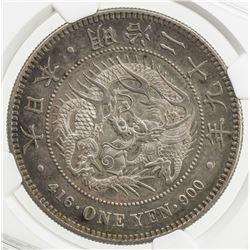 JAPAN: Meiji, 1868-1912, AR yen, year 29 (1896). NGC AU58