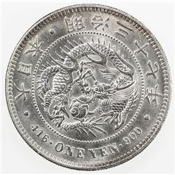 JAPAN: Meiji, 1868-1912, AR yen, year 37 (1904). AU