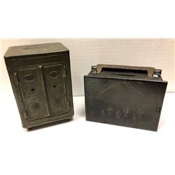 """JAPAN: LOT of two Meiji era home """"Coin Savings Banks"""" from the early 1900s"""