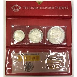 JORDAN: Hussein bin Talal, 1952-1999, 3-coin proof set, 1969/AH1389
