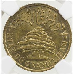 LEBANON: French Mandate, 5 piastres, 1933. NGC MS63