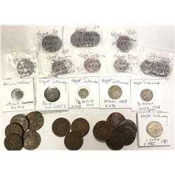 NEPAL: LOT of 48 copper and 5 silver coins of Tribhuvana Vira Vikrama