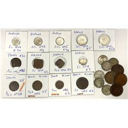 STRAITS SETTLEMENTS: LOT of 11 copper and 12 silver coins