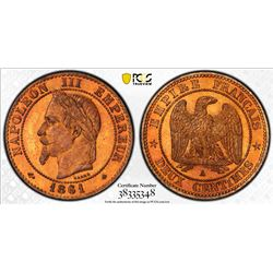 FRANCE: Napoleon III, 1852-1870, AE 2 centimes, 1861-A. PCGS MS65