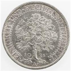 GERMANY: Weimar Republic, AR 5 mark, 1931-A. AU