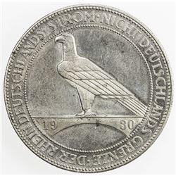 GERMANY: Weimar Republic, AR 5 reichsmark, 1930-J. AU