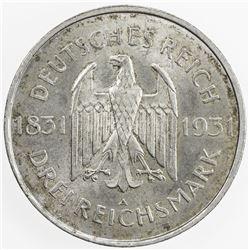 GERMANY: Weimar Republic, AR 3 reichsmark, 1931-A. UNC