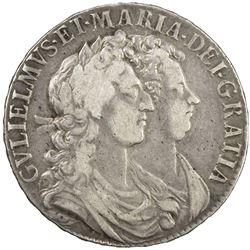 ENGLAND: William III and Mary II, 1689-1694, AR halfcrown, 1689. F-VF