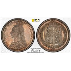 GREAT BRITAIN: Victoria, 1837-1901, AR sixpence, 1887. PCGS MS65