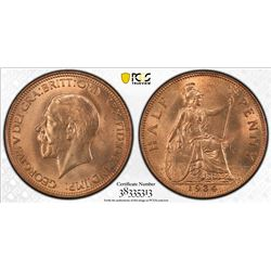 GREAT BRITAIN: George V, 1910-1936, AE halfpenny, 1934. PCGS MS65