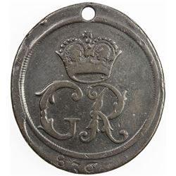 GREAT BRITAIN: AE road pass (15.06g), 1737. VG-F