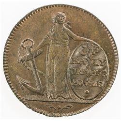 GREAT BRITAIN: AE farthing token (4.22g), 1795. UNC