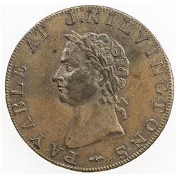 GREAT BRITAIN: AE halfpenny token (9.56g), 1795. UNC