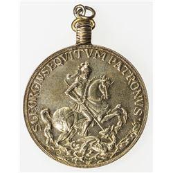 HUNGARY: gilt AE medal (21.37g), ND, St. George on horse kililng dragon, Apostles with Jesus, EF