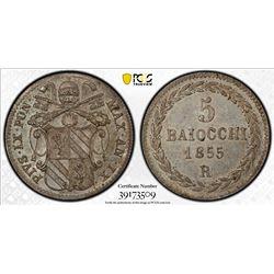 PAPAL STATES: Pius IX, 1846-1878, AR 5 baiocchi, 1855 year IX. PCGS MS64