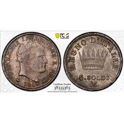 KINGDOM OF ITALY: Napoleone, 1804-1814, AR 5 soldi, 1812-M. PCGS MS66