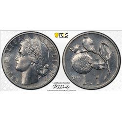 ITALY: Republic, 1 lira, 1946-R. PCGS MS64