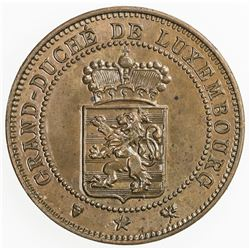 LUXEMBOURG: Willem III, 1849-1890, AE 5 centimes, 1889. AU