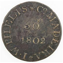 MADEIRA: AE 50 reis token, 1802. F-VF