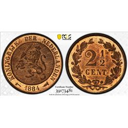 NETHERLANDS: Willem III, 1849-1890, AE 2 1/2 cents, 1884. PCGS MS65