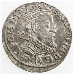 POLAND: Zygmunt III Waza, 1587-1632, AR 3 groschen, 1605. EF-AU