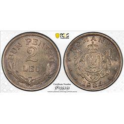 ROMANIA: Ferdinand I, 1914-1927, 2 lei, Poissy mint, 1924. PCGS MS65