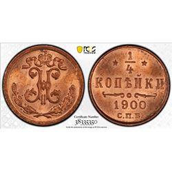 RUSSIA: Nicholas II, 1894-1917, AE 1/4 kopeck, 1900. PCGS MS65