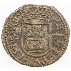 SPAIN: Felipe II, 1556-1598, AE cuartillo, ND. AU