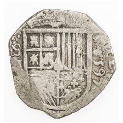 SPAIN: Felipe II, 1556-1598, AR 2 reales (6.45g), 1597-S. F-VF