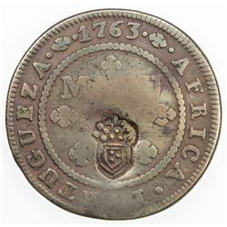 ANGOLA: Maria II, 1834-1853, AE 2 macutas, ND(1837). VF