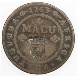 ANGOLA: Maria II, 1834-1853, AE 2 macutas, ND [1837]. F