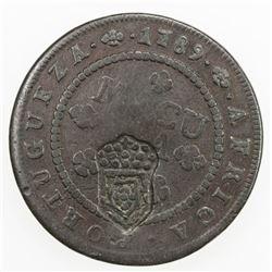 ANGOLA: Maria II, 1834-1853, AE 2 macutas, ND [1837]. VF