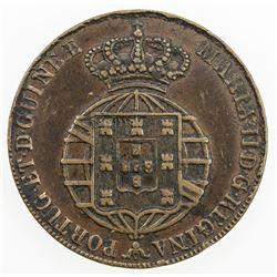 ANGOLA: Maria II, 1834-1853, AE 1/2 macuta, 1851. VF