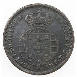 ANGOLA: Pedro V, 1853-1861, AE macuta, 1860. VF