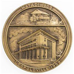 BELGIAN CONGO: Banque du Congo Belge, AE medal (148.9g), 1959. AU