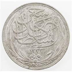 EGYPT: Hussein Kamil, 1914-1917, AR 5 piastres, 1917-H/AH1335. AU