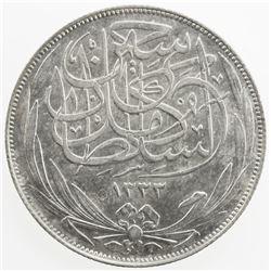 EGYPT: Hussein Kamil, 1914-1917, AR 10 piastres, 1917-H/AH1335. AU