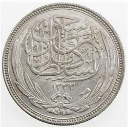 EGYPT: Hussein Kamil, 1914-1917, AR 20 piastres, 1916/AH1335. AU