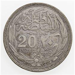 EGYPT: Hussein Kamil, 1914-1917, AR 20 piastres, 1916/AH1335
