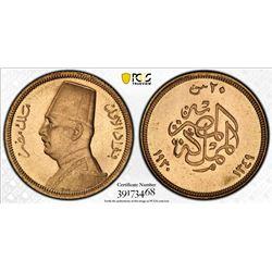EGYPT: Fuad, as King, 1922-1936, AV 20 piastres, 1930/AH1349. PCGS MS65