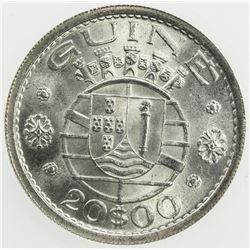PORTUGUESE GUINEA: Colony, AR 20 escudos, 1952. ICG MS64