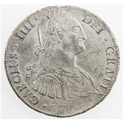 BOLIVIA: Carlos III, 1788-1808, AR 8 reales, 1808-PTS. EF