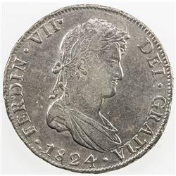 BOLIVIA: Fernando VII, 1808-1825, AR 8 reales, 1824-PTS. EF
