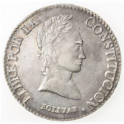 BOLIVIA: Republic, AR 8 soles, 1844-PTS. EF