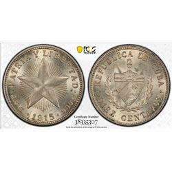 CUBA: First Republic, AR 10 centavos, 1915. PCGS MS64