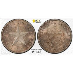 CUBA: First Republic, AR 20 centavos, 1915. PCGS MS63