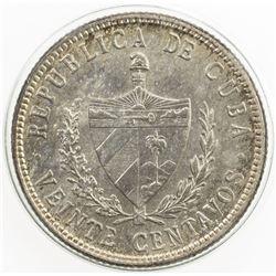 CUBA: First Republic, AR 20 centavos, 1948. UNC