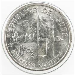 CUBA: First Republic, AR 40 centavos, 1952. UNC