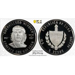 CUBA: Republic, AR 5 pesos, 1987. PCGS PF67
