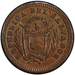 EL SALVADOR: Republic, AE 1/4 real, 1909. PCGS MS62